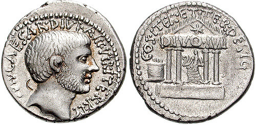 Figure 9. Denarius struck in 36 BCE depicting a mournful Augustus and the unfinished Temple of Divus Julius, (Source: Coins at Warwick)